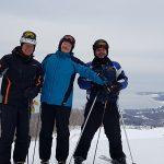 3 skiers